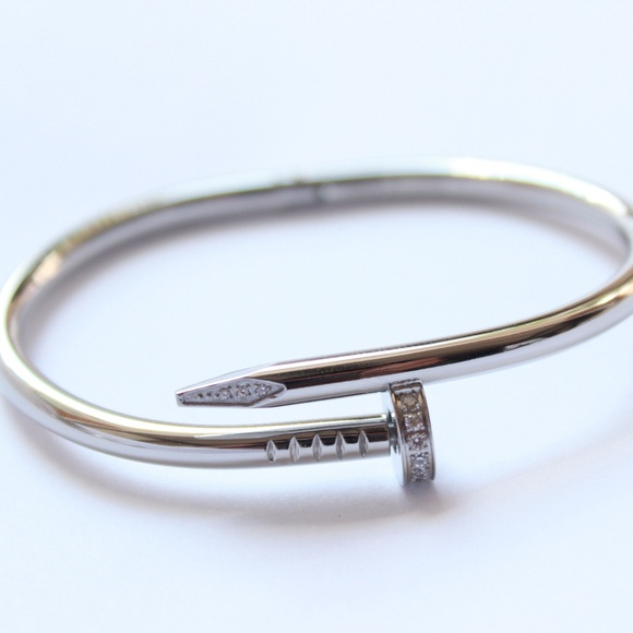 8d571e5a2187d Jewelry | Womens Stainless Silver Nail Love Bangle Bracelet | Poshmark